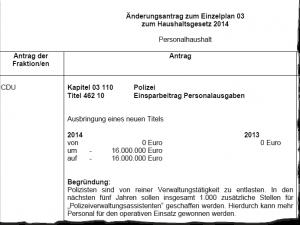 CDU-Antrag: 16 Millionen Euro Kürzung beim Polizeipersonal.