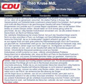 Screenshot eines Textes des innenpolitischen Sprechers des CDU-Landtagsfraktion vom 22.12.2015, der mittlerweile von dessen Website entfernt wurde.
