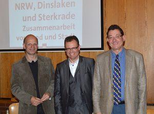 Stefan Zimkeit, Michael Heidinger und Ulrich Real im Gemeindezentrum Schmachtendorf.