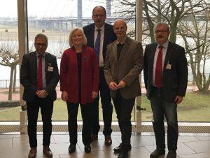 Michael Hermund (DGB NRW), Heike Gebhard MdL, DGB-Bundesvorstandsmitglied Stefan Körzell, Stefan Zimkeit MdL, Mehrdad Payandeh (DGB)